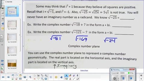 Thumbnail for entry Imaginary number lesson pt 2   11-24-14