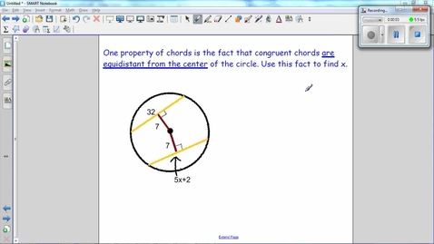 Thumbnail for entry Special Segments in Circles, congruent chords are equidistant from the center. Use this fact to find x.