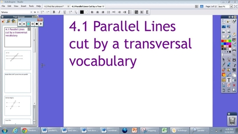 Thumbnail for entry 4.1 Parallel Lines Cut By a Transversal Vocabulary