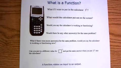 Thumbnail for entry Intro to Functions