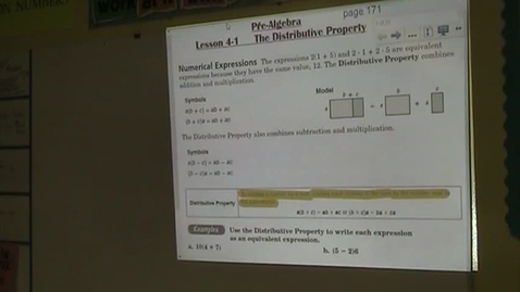 Thumbnail for entry PA Lesson 4-1 Distributive Property
