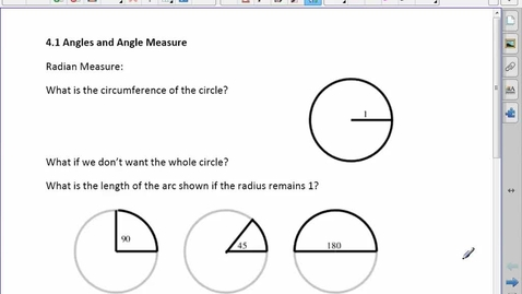 Thumbnail for entry PreCalc 30 4.1 Angles and Angle Measure
