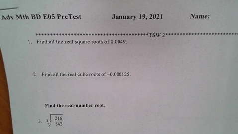 Thumbnail for entry Adv Mth BD E05 PreTest TSW 2 Calculations