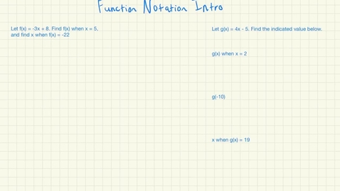 Thumbnail for entry Function Notation Intro
