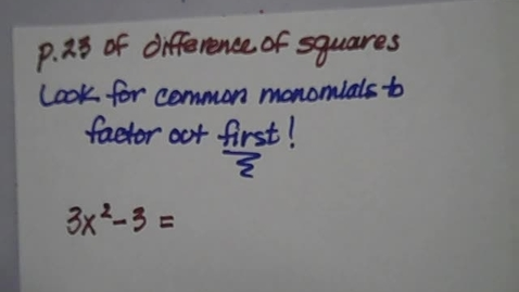 Thumbnail for entry Difference of Squares P. 23