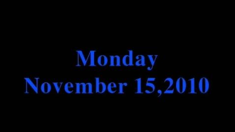 Thumbnail for entry Monday, November 15, 2010