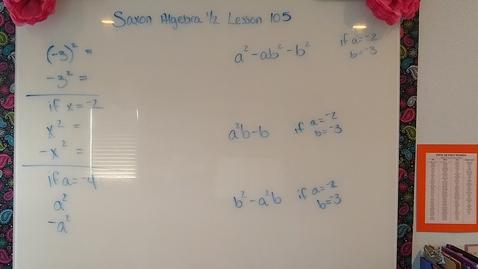 Thumbnail for entry Saxon Algebra 1/2 Lesson 105