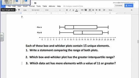 Thumbnail for entry SOL Review Question 7 Statistics Box and Whisker Plots