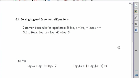 Thumbnail for entry PC30 8.4Solving Log and Exponential Eq'n