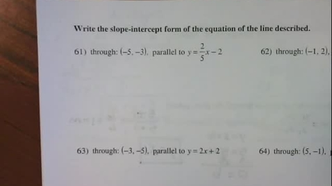 Thumbnail for entry Slope-Intercept Form of Parallel and Perpendicular Lines