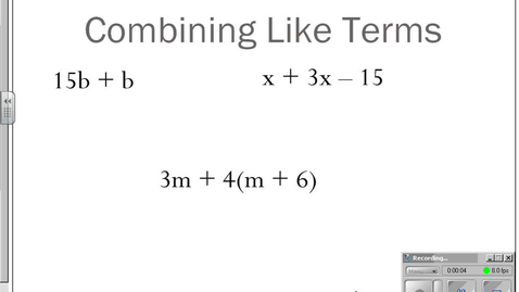 Thumbnail for entry Combining Like Terms in Expressions