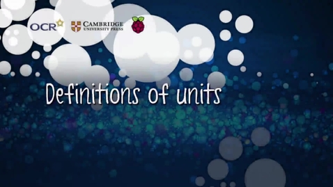 Thumbnail for entry Definitions of units - Part A