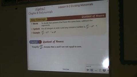 Thumbnail for entry Alg Lesson 8-2 Dividing Monomials