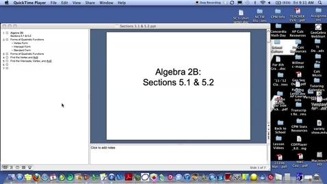 Thumbnail for entry Algebra 2B Sections 5.1 & 5.2