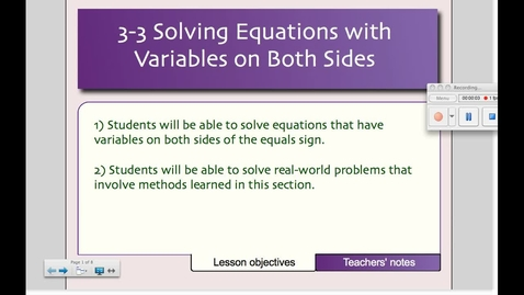 Thumbnail for entry 3-3 Solving Equations with Variables on Both Sides