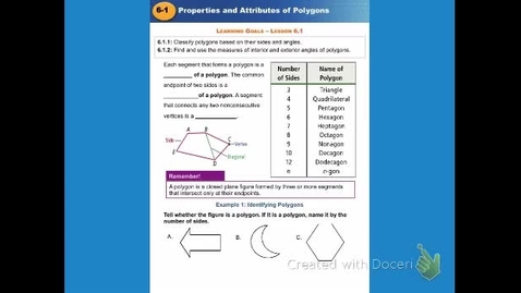 """Thumbnail for entry GeoA Lesson Ch 6:1: """"Polygons & Quadrilaterals"""""""