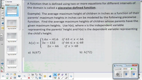 Thumbnail for entry Piecewise functions lesson pt 1  9-21-15
