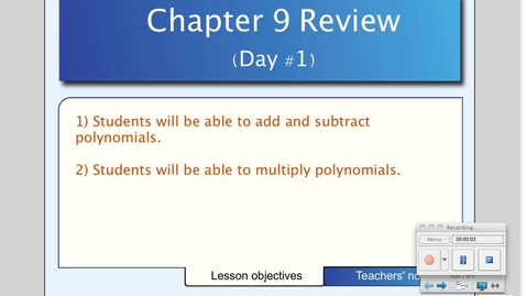 Thumbnail for entry Chapter 9 Final Review (Day # 1)