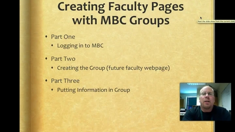 Thumbnail for entry Creating Facutly Webpages with MBC Groups - 2