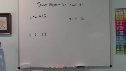 Thumbnail for entry Saxon Algebra 1/2 - Lesson 37 - Equations: Answers and Solutions