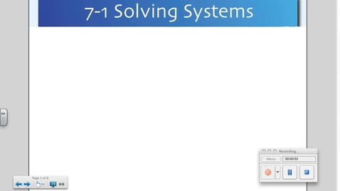 Thumbnail for entry 7-1 Solving Systems by Graphing