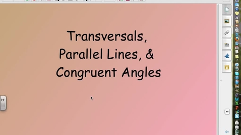 Thumbnail for entry Transversals, Parallel Lines and Angles