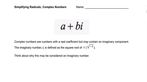 Thumbnail for entry Complex Numbers.mov