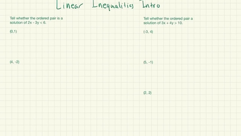 Thumbnail for entry Linear Inequalities Intro