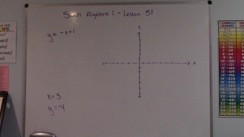 Thumbnail for entry Saxon Algebra 1 - Lesson 51 - Graphs of Linear Equations & Vertical and Horizontal Lines