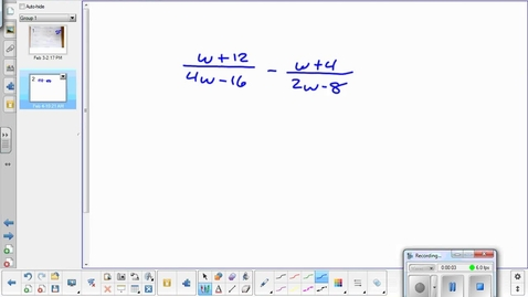 Thumbnail for entry Adding and subtracting rational functions lesson pt 3  2-4-15