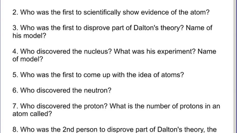 Thumbnail for entry Stephens Chemistry: (2-10-14) Terms #4 discussion - the atom