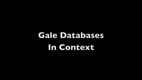 Thumbnail for entry Gale Research Databases