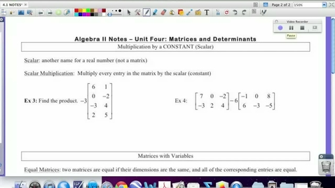Thumbnail for entry 4.1:  Mult. Matrices by a Scalar