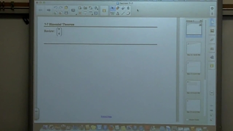 Thumbnail for entry College Algebra Section 7-7 Binomial Expansion