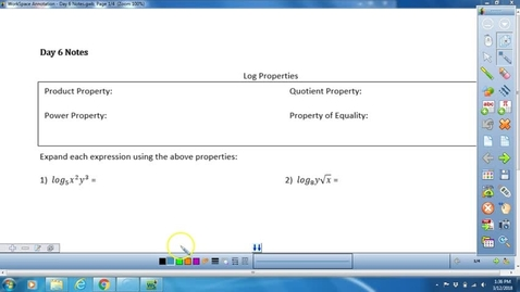 Thumbnail for entry Math 3 Unit 4 Day 6 Log Properties Lesson