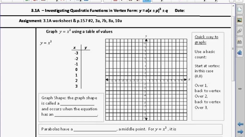 Thumbnail for entry PC20 3.1A Vertex Graphing Form of Quadratic Functions