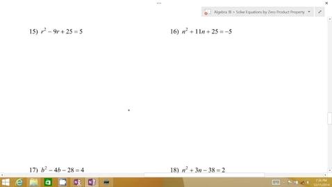 Thumbnail for entry Algebra 1B Lesson 07 #15-18