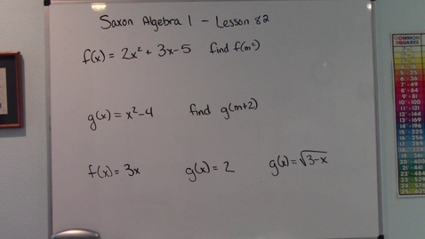 Thumbnail for entry Saxon Algebra 1 - Lesson  82 - Evaluating Functions - Domain and Range