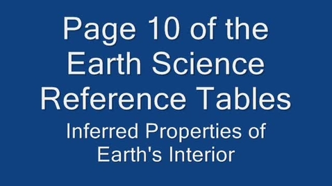 Thumbnail for entry Earth's Interior Reference Tables pt 1