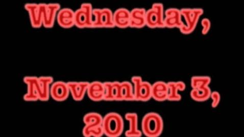 Thumbnail for entry Wednesday, November 3, 2010