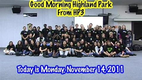 Thumbnail for entry Monday, November 14, 2011