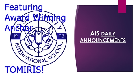 Thumbnail for entry QSI AIS Announcements May 3-7