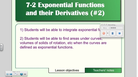 Thumbnail for entry 7-2 Exponential Functions and their Derivatives (Day # 2)