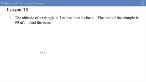 Thumbnail for entry Algebra 1B Lesson 13 #1