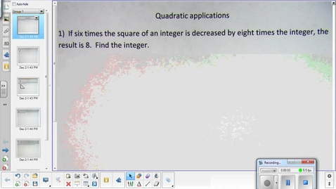 Thumbnail for entry Quadratic word problems lesson   12-15-14