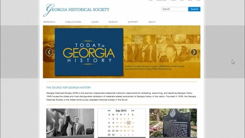 Thumbnail for entry Tour the New Georgia Historical Society Website