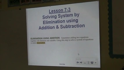 Thumbnail for entry Alg Lesson 7-3 Solving Systems by Elimination