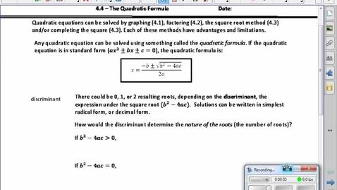 Thumbnail for entry PreCalc 20 4.4 Quadratic Formula