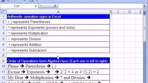 Thumbnail for entry Excel Basics #5: Formulas Operators and Math