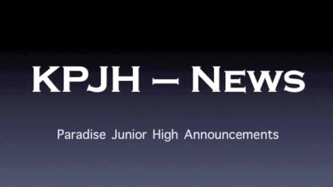 Thumbnail for entry PJH Announcements 5-6-13